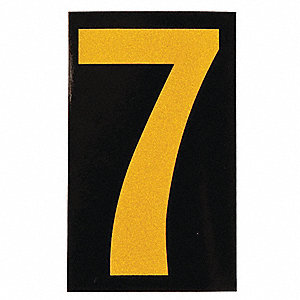 "Number Label, 7, Yellow On Black, 2-1/2"" Character Height, 25 PK"