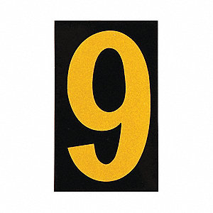 "Number Label, 9, Yellow On Black, 2-1/2"" Character Height, 25 PK"
