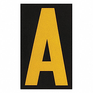 "Letter Label, A, Yellow On Black, 2-1/2"" Character Height, 25 PK"