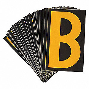 "Letter Label, B, Yellow On Black, 2-1/2"" Character Height, 25 PK"