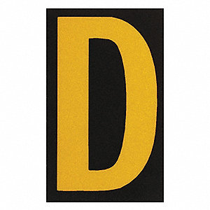"Letter Label, D, Yellow On Black, 2-1/2"" Character Height, 25 PK"