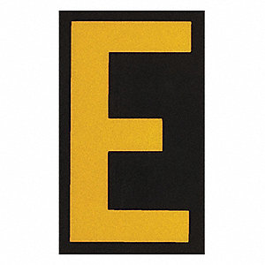 "Letter Label, E, Yellow On Black, 2-1/2"" Character Height, 25 PK"