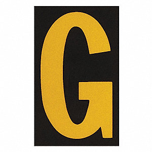 "Letter Label, G, Yellow On Black, 2-1/2"" Character Height, 25 PK"
