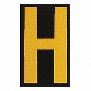 "Letter Label, H, Yellow On Black, 2-1/2"" Character Height, 25 PK"