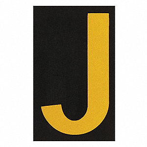 "Letter Label, J, Yellow On Black, 2-1/2"" Character Height, 25 PK"