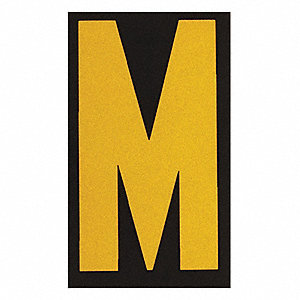 "Letter Label, M, Yellow On Black, 2-1/2"" Character Height, 25 PK"