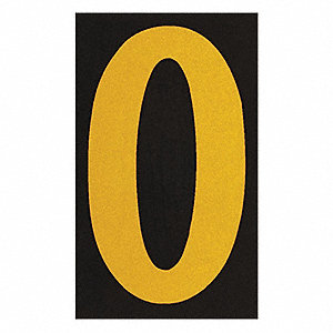 "Letter Label, O, Yellow On Black, 2-1/2"" Character Height, 25 PK"