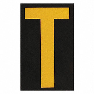 "Letter Label, T, Yellow On Black, 2-1/2"" Character Height, 25 PK"