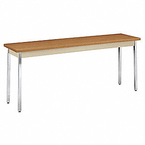 "Utility Table with Harvest Tabletop and Silver Frame 72"" x 18"" x 29"""