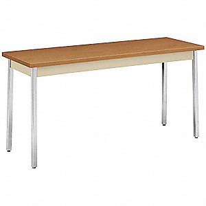 "Utility Table with Harvest Tabletop and Silver Frame 60"" x 20"" x 29"""