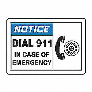 NOTC LBL DIAL 911 EMER 3 1/2X5