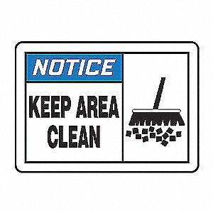 NOTC LBL KEEP AREA CLEAN 3 1/2