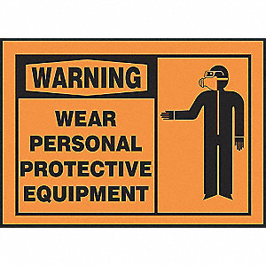 WARN LBL WEAR PPE 3 1/2X5