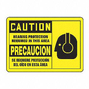 CAUT LBL HEAR PRO R ENG/SP 3 1/2X5