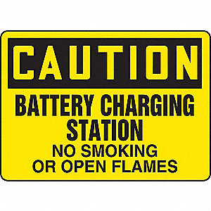 SAFETY SIGN BATTERY CHARGING PLAS
