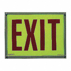 SAFETY SIGN EXIT GLOW PLASTIC