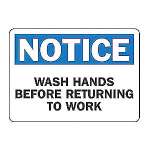 SAFETY SIGN WASH HANDS PLASTIC