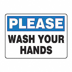SAFETY SIGN WASH YOUR HANDS VINYL