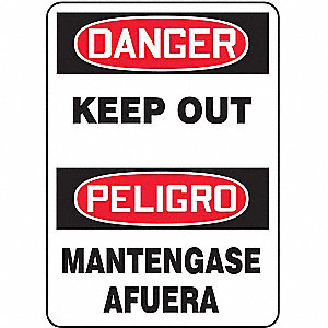 SAFETY SIGN KEEP OUT BIL PLASTIC
