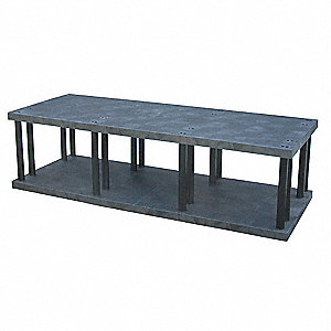 "Freestanding Open Plastic Shelving, 96""W x 36""D x 27""H, 2640 lb. Load Cap., 2 Shelves, Black"