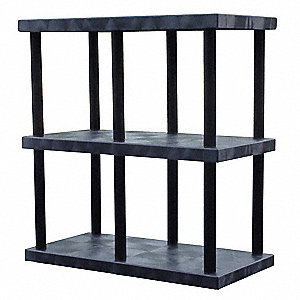 "48"" x 24"" x 51"" Molded HDPE Plastic Bulk Storage Rack, Black&#x3b; Number of Shelves: 3"