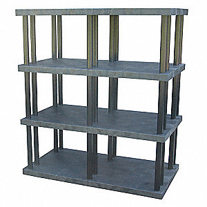 "66"" x 36"" x 75"" Molded HDPE Plastic Bulk Storage Rack, Black&#x3b; Number of Shelves: 4"