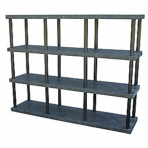 "96"" x 24"" x 75"" Molded HDPE Plastic Bulk Storage Rack, Black&#x3b; Number of Shelves: 4"