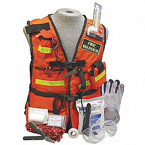 Fire Warden Vest,Orange,Nylon