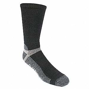 Crew Sewn Polyester Boot Socks, Men's, Black, 1 PR