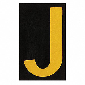 "Letter Label, J, Yellow On Black, 1-1/2"" Character Height, 25 PK"