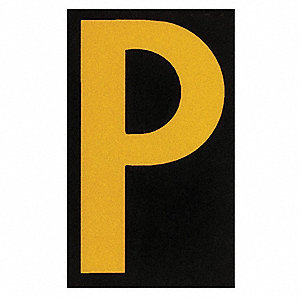 "Letter Label, P, Yellow On Black, 1-1/2"" Character Height, 25 PK"