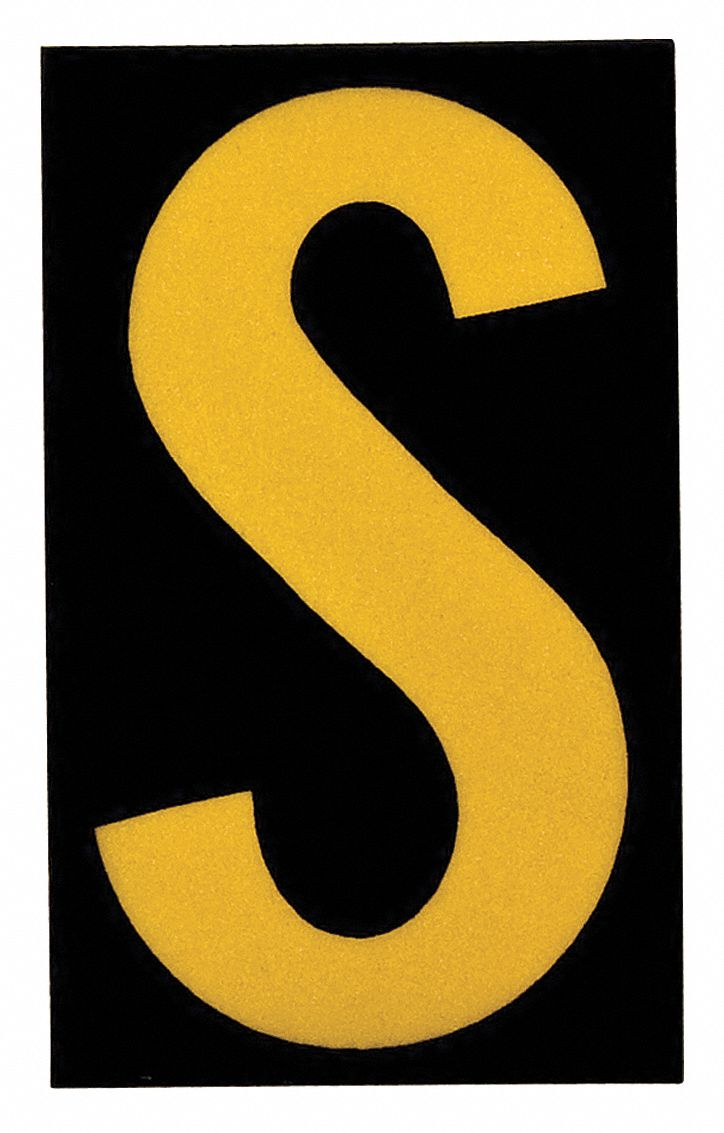 letter a learning brady letter label s yellow on black 1 quot character 5905