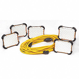 33W LED Temporary String Light, Yellow, 120VAC