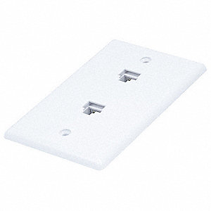 White Wall Plate Jack, Plastic, Number of Gangs: 1, Cable Type: Wall-Mount