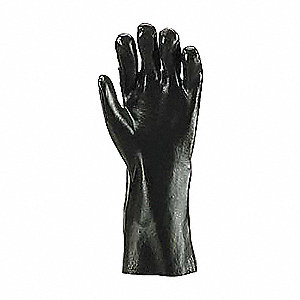 GLOVES PVC 14IN SMOOTH BK 10
