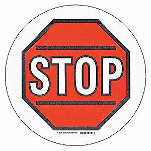 RD/BK//WT STOP W/SYMBOL 17IN B534FS