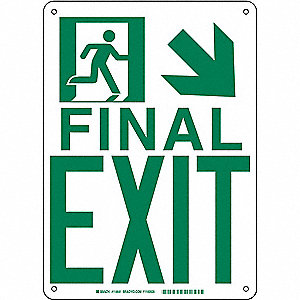 SIGN B985 14INX10IN FINAL EXIT D/R