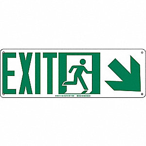 SIGN EXIT ARROW DOWN RIGHT 7X21IN