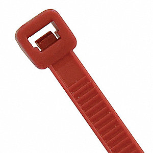 Cable Tie, Nylon, Red, Outdoor, Tensile Strength: 50 lb.