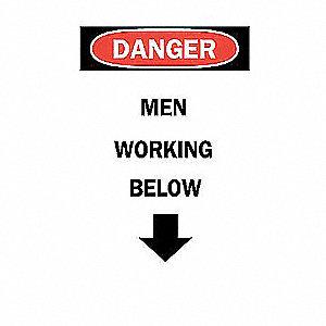 SIGN MEN WORKING BELOW W/ARROW