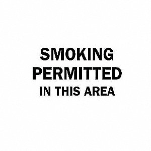SIGN SMOKING PERMITTED IN THIS AREA