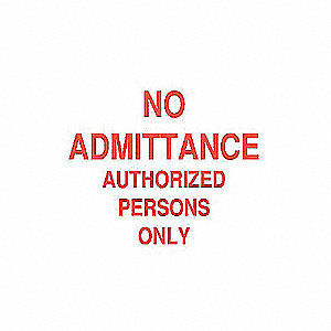 SIGN ADMITTANCE N/H 10X14