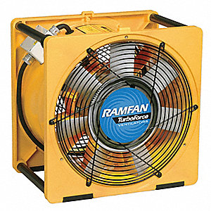 Axial Confined Space Fan, 1-1/2 HP HP, 115V Voltage, 3450 rpm Blower/Fan Speed