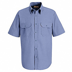 Short Sleeve Shrt Blu,PET/Cotton,2XL