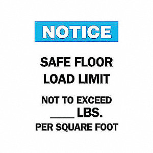 SIGN SAFE FLOOR LOAD LIMIT NOT TO..