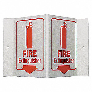 SIGN PRINZING V RED/GLOW FIRE EXTNG