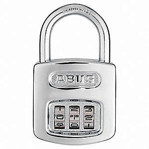 "Combination Padlock, Resettable Front-Dial Location, 7/8"" Shackle Height"