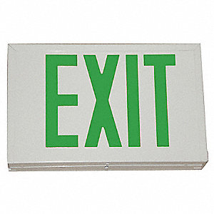 1 Face LED Exit Sign, White Steel Housing, Red Letter Color