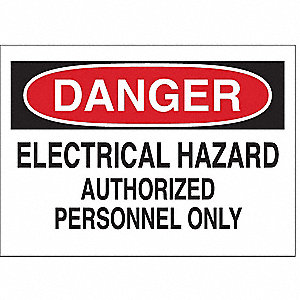 "Electrical Hazard, Danger, Polyester, 3-1/2"" x 5"", Adhesive Surface, Not Retroreflective"