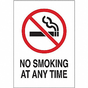 No Smoking Sign,At Any Time,10x7,W/R/Blk